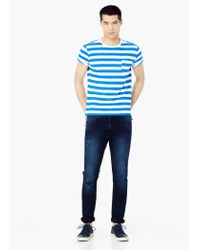 Mango - Blue Chest-pocket Striped T-shirt for Men - Lyst