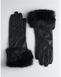 Lord & Taylor | Black Fur-trimmed Leather Gloves | Lyst