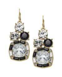 kate spade new york - Multicolor New York Goldtone Navy and Clear Stone Drop Earrings - Lyst