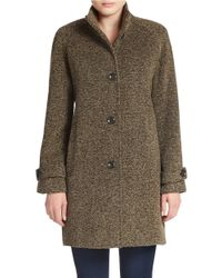 Jones New York | Brown Single-breasted Wool-blend Coat | Lyst