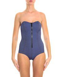 Lisa Marie Fernandez - Blue Leigh Denim Maillot Swimsuit - Lyst