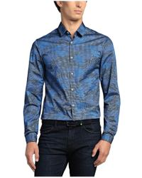 BOSS Green Blue 'bersh' | Slim Fit, Stretch Cotton Button Down Shirt for men