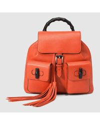 cc416c2888f5 Gucci Bamboo Leather Backpack in Orange - Lyst