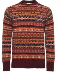 Jules B - Multicolor Cashmere Crew Neck Fair Isle Sweater for Men - Lyst