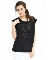 Banana Republic   Black Embroidered Muscle Tee   Lyst