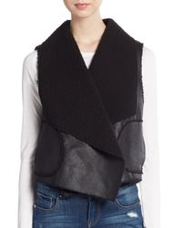 C&C California Black Faux Shearling Vest