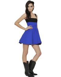 Fausto Puglisi Blue Color Block Viscose Cady Dress