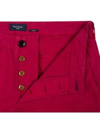 Paul Smith - Men's Garment-dye Red Stretch-cotton Twill Chinos for Men - Lyst