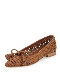 Aquatalia - Brown Doria Woven Leather Tassel Flat Camel - Lyst
