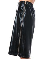 AKIRA - Black Pleather Side Zip Gaucho Pant - Lyst