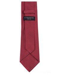 Amanda Christensen Red Woven Silk Tie for men