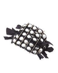 Lanvin | Black Grosgrain Pearly Bracelet | Lyst