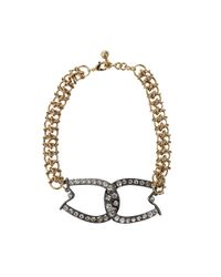 Lulu Frost - Metallic Brass Glass Stone Horseshoe Necklace - Lyst