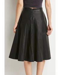 Forever 21 Black Contemporary Faux Leather A-line Skirt
