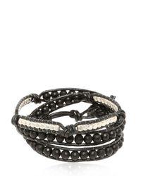 Colana - Black Leather Wrap Bracelet With Onyx - Lyst