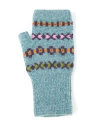 Quinton-chadwick - Blue Teal Fingerless Wool Mittens - Lyst