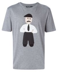 Dolce & Gabbana Gray Man Patch T-shirt for men