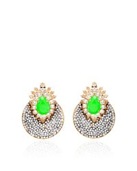 Shourouk Metallic Luna Comet Earrings in Neon Green