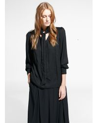 Mango | Black Tie-neck Blouse | Lyst