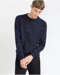 Zara | Blue Printed Yarn Sweater for Men | Lyst