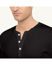 Ralph Lauren Black Label | Black Cotton-blend Henley Shirt for Men | Lyst