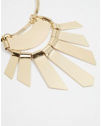 ASOS | Metallic Statement Fan Bib Necklace | Lyst