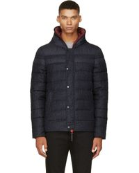 Duvetica Blue Navy Twill and Nylon Quilted Branco Jacket for men