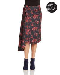424 Fifth Multicolor Floral Asymmetric Skirt