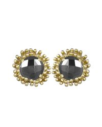 Kendra Scott - Gray Carly Faceted Crystal Button Earrings - Lyst