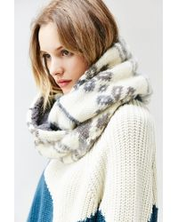Urban Outfitters | Gray Brushed Plush Lined Eternity Scarf | Lyst
