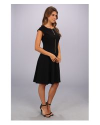 Maggy London Black Techno Crepe Fit and Flare Dress