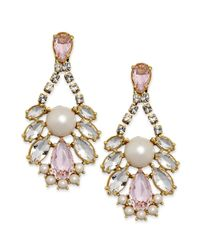 kate spade new york | Metallic New York Goldtone Glass Stone and Faux Pearl Chandelier Earrings | Lyst