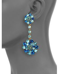 Oscar de la Renta | Blue Clustered Stone Clipon Drop Earrings | Lyst