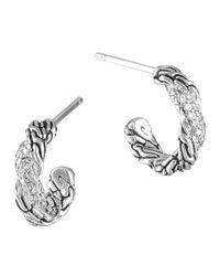 John Hardy Metallic Extra Small Carved Chain Diamond Hoop Earrings