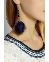 Isabel Marant Blue Goldtone Feather Earrings