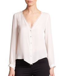 Elizabeth and James - White Damaris Eyelash Fringe Silk Blouse - Lyst