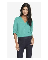 Express Green Gathered V-Neck Blouse