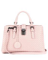 Bottega Veneta Pink Mini Roma Intrecciato Leather Tote
