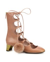 Gucci | Pink Lace-Up Fur Pom-Pom Leather Boots | Lyst