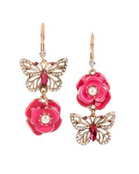 Betsey Johnson | Pink Vintage Lockets Mismatched Drop Earrings | Lyst