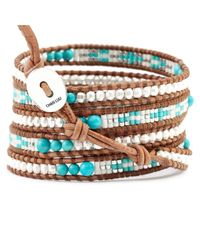 Chan Luu | White Turquoise Silver Mix Wrap Bracelet On Natural Brown Leather | Lyst