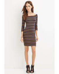 Forever 21 - Blue Boat Neck Stripe Dress - Lyst