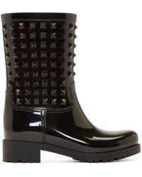 Valentino | Black Studded Rain Boot | Lyst