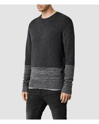 AllSaints - Gray Wray Crew Sweater for Men - Lyst