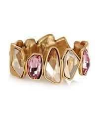 Oscar de la Renta | Metallic Goldplated Swarovski Crystal Bracelet | Lyst