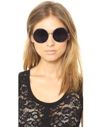The Row Blue Round Sunglasses - Molasses/Brown