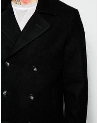 ASOS - Wool Peacoat In Black for Men - Lyst