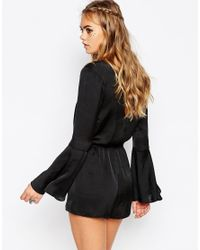 Band Of Gypsies - Black Satin Plunge Neck Lace Playsuit - Lyst