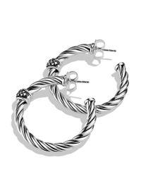 David Yurman Metallic Cable Classics Hoop Earrings With Diamonds