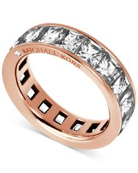 Michael Kors | Pink Rose Gold-tone Ring With Square-cut Stones | Lyst